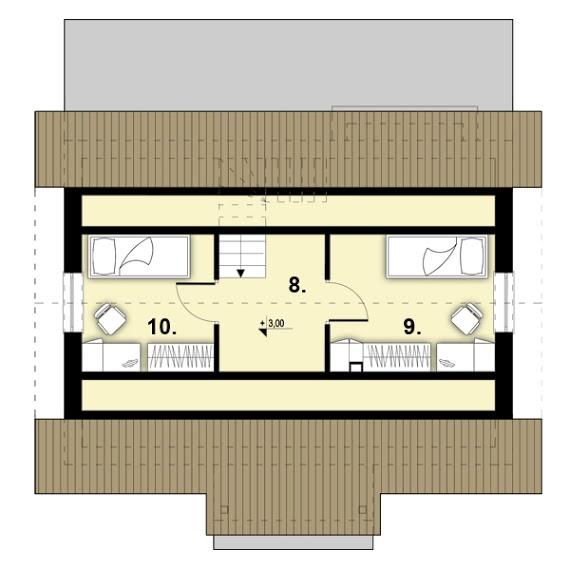 plan mansarda casa mica d67